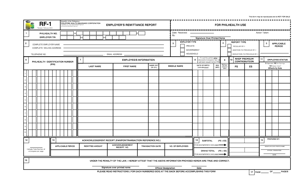 PHILHEALTH employer's remittance report RF-1 Form